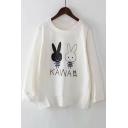 Rabbit KAWAII Letter Printed Round Neck Long Sleeve Sweatshirt