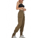 Drawstring Waist Plain Cinch Straps Cuffs Leisure Cargo Pants
