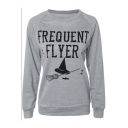 FREQUENT FLYER Letter Broom Printed Round Neck Long Sleeve Sweatshirt