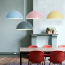Simple Nordic Style 1-Light Pendant Lamp Metal Dome Shade for Dining Room with Various Colors for Option
