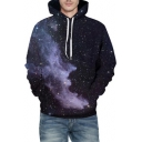 Starry Smoke Printed Long Sleeve Hoodie