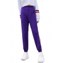 Elastic Waist Contrast Striped Side Loose Sports Pants