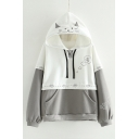 Color Block Embroidered Hood Paw Printed Long Sleeve Casual Hoodie