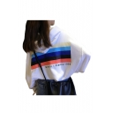 Letter Rainbow Striped Print Long Sleeve Dropped Shoulders Cropped Hoodie