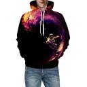 3D Galaxy Astronaut Print Long Sleeve Hoodie