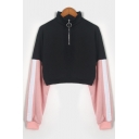 Stand Collar Color Block Long Sleeve Cropped Half-Zip Sweatshirt