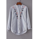 Floral Embroidered V Neck Striped Button Placket Long Sleeve Shirt