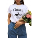 LOSERS Letter Sailboat Print Short Sleeve Round Neck T-Shirt