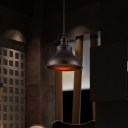 Retro Style Matte Black Finish 1-Light Down Rod Hanging Pendant Lamp 14.17
