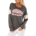 BE HAPPY Letter Rainbow Print Round Neck Raglan Long Sleeve T-Shirt