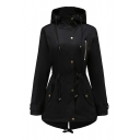 Trendy Plain Long Sleeve Zip Closure Hooded Coat