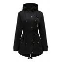Trendy Plain Long Sleeve Zip Closure Hooded Coat