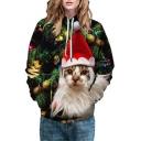 Christmas Series Cat Printed Long Sleeve Unisex Hoodie