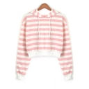 Hot Sale Striped Printed Long Sleeve Casual Cropped Hoodie