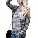 Camouflage Round Neck Long Sleeve Cold Shoulder Leisure T-Shirt