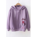 Bow Embellished Lovely Cat Embroidered Long Sleeve Casual Hoodie
