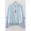 Number Embroidered Applique Striped Long Sleeve Hoodie