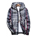 Trendy Plaid Printed Long Sleeve Zip Up Hooded Jacket