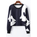 Lovely Color Block Panda Printed Round Neck Long Sleeve Cropped Sweatshirt