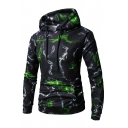 3D Smoke Print Long Sleeve Slim Hoodie for Men