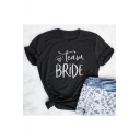 TEAM BRIDE Letter Heart Printed Round Neck Short Sleeve Tee