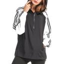 Color Block Striped Long Sleeve Half-Zip Front Casual Hoodie