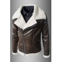 Notch Lapel Collar Long Sleeve Offset Zip Closure Lamb Shearling Leather Jacket