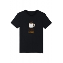 COFFEE LOVERS Letter Cup Printed Round Neck Short Sleeve Graphic Tee