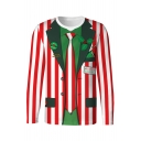 3D Color Block Striped Blazer Printed Round Neck Long Sleeve T-Shirt