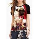 3D Bull Dog Bulb Printed Round Neck Short Sleeve T-Shirt