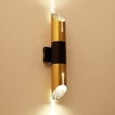 Adjustable Light Polished Gold Led Tube Wall Light 14.17 Inch High Post Modern Metal Pipe Wall Sconce for Bedside Restaurant Coat Rack