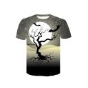 Tree Moon Print Round Neck Short Sleeve T-Shirt