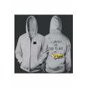 I SURVIVED MY TRIP Letter Car Print Long Sleeve Zip Up Hoodie