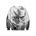 3D Skull Print Long Sleeve Round Neck Pullover Sweatshirt