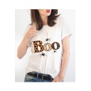 BOO Letter Spider Print Round Neck Short Sleeve T-Shirt