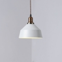 Simple Style White Finish Single Head Pendant Lamp with Copper Lamp Socket for Restaurant Book Store