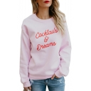 Graffiti Letter Print Round Neck Long Sleeve Sweatshirt