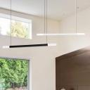Black/White/Silver Office Art Led Light 2-Light Matchstick Led Straight Linear Chandelier 39.37