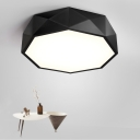 Modern Decorative Led Flush Mount Geometric Down Lighting Led Ceiling Fixture Metal High Performance 24/36W,  White Light Geometrical Led Lamp in Black for Office Study Room Foyer Gallery