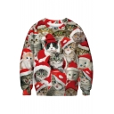 Christmas Series Cat All Over Printed Round Neck Long Sleeve Sweatshirt