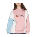 Japanese Strawberry Printed Color Block Round Neck Long Sleeve Sweatshirt