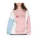 Japanese Strawberry Printed Color Block Round Neck Long Sleeve Sweatshirt