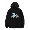 Bike Octopus Printed Long Sleeve Hoodie