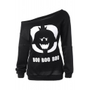 One Shoulder Cartoon BOO Letter Printed Long Sleeve Sweatshirt