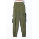 Straps Embellished Cargo Pockets Elastic Waist Plain Leisure Pants