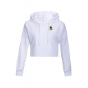Cute Pineapple Applique Long Sleeve Crop Hoodie