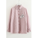 Rabbit Embroidered Plaid Lapel Collar Long Sleeve Button Front Shirt