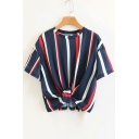 Striped Round Neck Short Sleeve Knotted Hem Cropped Tee