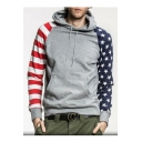 Contrast Striped Star Printed Long Sleeve Casual Hoodie