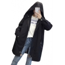 Plain Long Sleeve Drawstring Waist Zip Up Hooded Trench Coat